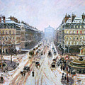 Avenue De L'opera - Effect Of Snow by Camille Pissarro