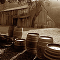 Barn And Wine Barrels 2 by Kathy Yates