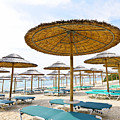 Beach Umbrellas And Chairs On Sandy Seashore by Elena Elisseeva