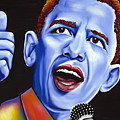 Blue Pop President Barack Obama by Nannette Harris
