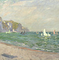 Boats Below The Cliffs At Pourville by Claude Monet