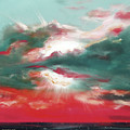 Bound Of Glory 2 - Square Sunset Painting by Gina De Gorna
