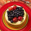 Cheesecake On Red Plate by Garry Gay