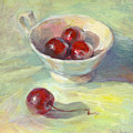 Cherries In A Cup On A Sunny Day Painting by Svetlana Novikova