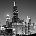 Chicago Night Skyline In Black And White by Paul Velgos