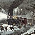 Currier And Ives by American Railroad Scene