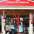 Filling Up The Old Ford Jalopy At The Associated Gasoline Station . Nostalgia . 7d12884 by Wingsdomain Art and Photography