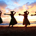 Four Hula Dancers At Sunset by David Olsen