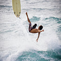 Hookipa Maui Flying Surfer by Denis Dore