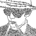 Hunter S. Thompson Black And White Word Portrait by Kato Smock