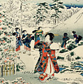 Maids In A Snow Covered Garden by Hiroshige