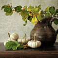 Old Pitcher With Gourds by Sandra Cunningham