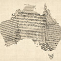Old Sheet Music Map Of Australia Map Print by Michael Tompsett