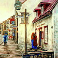 Paintings Of Quebec Landmarks Aux Anciens Canadiens Restaurant Rainy Morning October City Scene  by Carole Spandau
