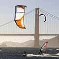 People Wind Surfing And Kitebording by Skip Brown