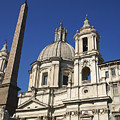 Piazza Navona. Navona Place. Church St. Angnese In Agona And Egyptian Obelisk. Rome by Bernard Jaubert