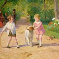 Playing With The Hoop by Victor Gabriel Gilbert
