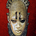 Queen Mother Idia - Ivory Hip Pendant Mask - Nigeria - Edo Peoples - Court Of Benin On Red Velvet by Serge Averbukh
