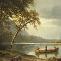 Salmon Fishing On The Caspapediac River by Albert Bierstadt