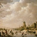 Skaters On A Frozen Canal by Hendrik Willem Schweickardt