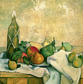 Still Life With Bottle Of Liqueur by Paul Cezanne