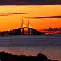 Sunset Over The Skyway Bridge by Barbara Bowen