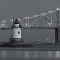 Tarrytown Lighthouse And Tappan Zee Bridge At Twilight II by Clarence Holmes