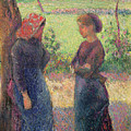 The Chat by Camille Pissarro