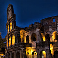 The Coleseum In Rome At Night by David Smith