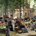 The Square In Front Of Les Halles by Victor Gabriel Gilbert