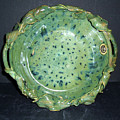 Trout Pattern Glaze Bowl With Leaves by Carolyn Coffey Wallace