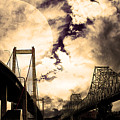 Two Bridges One Moon by Wingsdomain Art and Photography