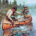 Two Fishermen In Canoe by Phillip R Goodwin