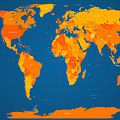World Map In Orange And Blue by Michael Tompsett