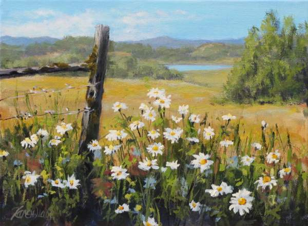 Flowers in the Acrylic Landscape Painting