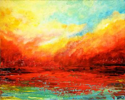 Sunset-palette Knife Acrylic Acrylic Paintings Sunset