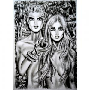 Sketch For New Painting Adam And Eve