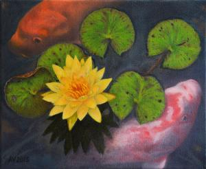 The Oil Painting  Koi Fish And The Water Lily By Alex Vishnevsky