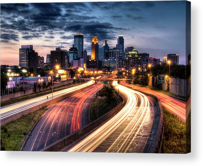 Horizontal Acrylic Print featuring the photograph Downtown Minneapolis Skyscrapers by Greg Benz