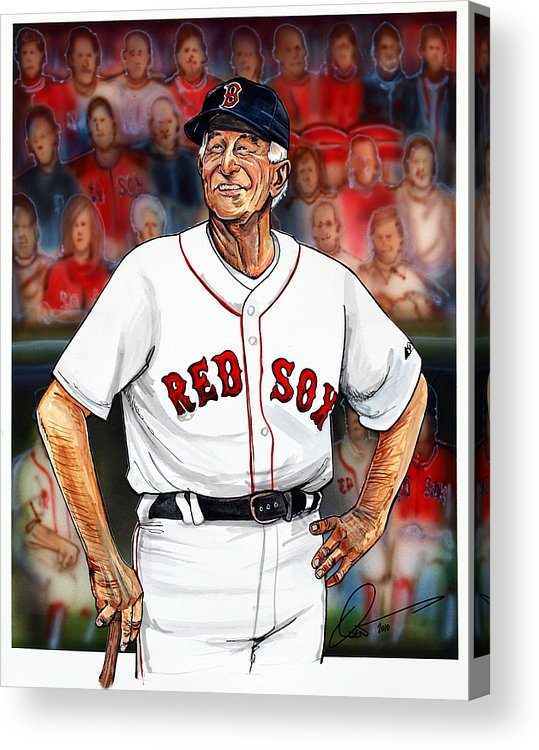 Red Sox Acrylic Print featuring the painting Johnny Pesky by Dave Olsen
