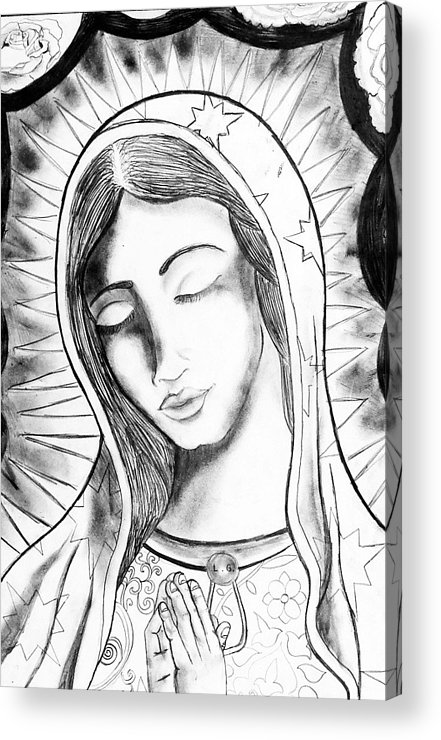 The Virgin Mary Acrylic Print featuring the drawing Our Lady by Jeffrey Kyker