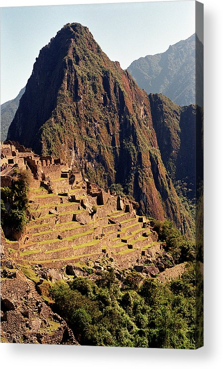 Vertical Acrylic Print featuring the photograph The Ruins Of Machu Picchu, Peru, Latin America by Brian Caissie