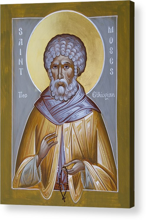 St Moses The Ethiopian Acrylic Print featuring the painting St Moses The Ethiopian by Julia Bridget Hayes
