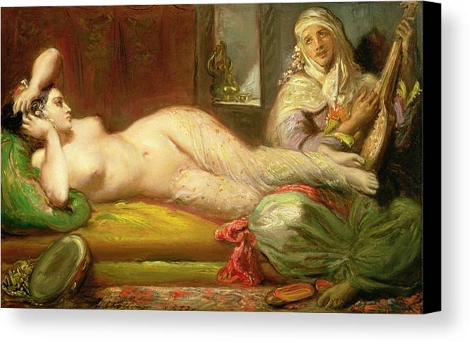 Reclining Canvas Print featuring the painting Reclining Odalisque by Theodore Chasseriau