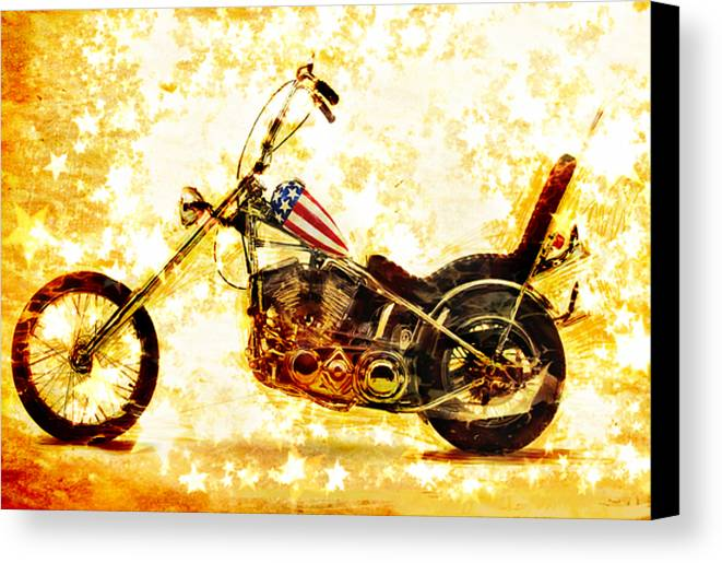 Easy Rider Canvas Print featuring the mixed media Captain America by Russell Pierce