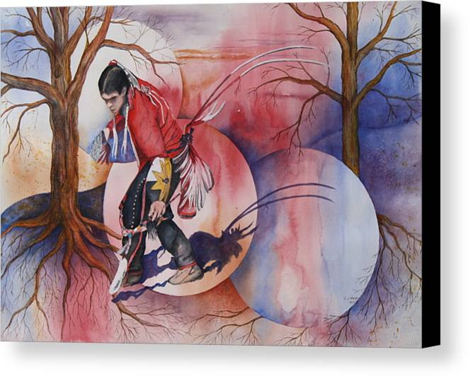 Native American Spirit Portrait Canvas Print featuring the painting Red Dancer by Patsy Sharpe