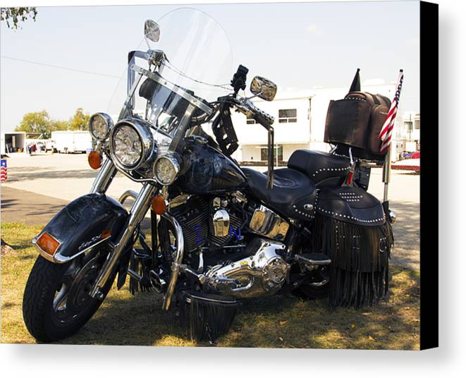Antique Cars Canvas Print featuring the photograph Harley Classic by Elizabeth Chevalier