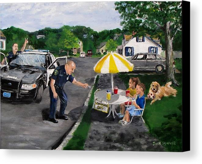 Police Canvas Print featuring the painting The Lemonade Stand by Jack Skinner