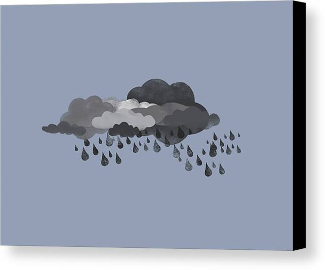 Horizontal Canvas Print featuring the digital art Storm Clouds And Rain by Jutta Kuss