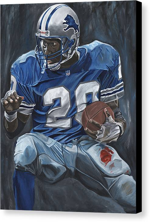 Barry Sanders Detroit Lions Nfl Football Sports Lion David Courson Canvas Print featuring the painting The Cutback by David Courson